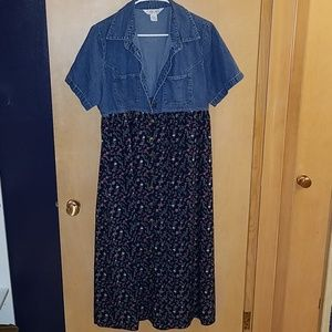 Cherokee Vintage Button Up Dress Denim and Flowers